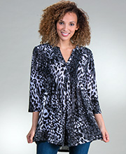 La Cera Poly Blend 3/4 Sleeve Pleated Tunic Top in Marble Splash
