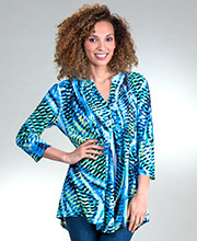 Pleated La Cera Tops - Poly Blend 3/4 Sleeve Tunic in Sky Road
