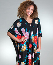 Plus Women's Kaftans - Ellen Tracy Poly Knit V-Neck Lounger in Sweet Floral