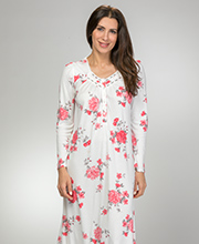 Aria Long Sleeve Poly Rayon Knit Nightgown in Coral Roses