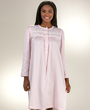 Short Miss Elaine Embroidered Brush Back Satin Nightgown in Pink
