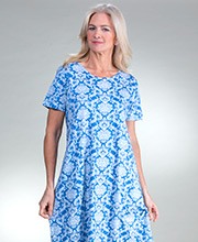 La Cera Cotton Knit A-Line Short Sleeve Dress in Regal Sky