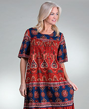 Long La Cera Cotton Short Sleeve Muumuu Dress in Garden Spice