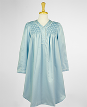 Short Miss Elaine V-Neck Gowns - Brushed Back Satin Smocked in Blue
