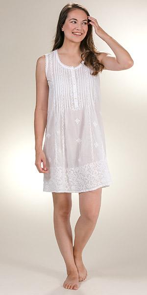 e2a9a5e198d La Cera Embroidered Beach Coverup Sleeveless Semi-Sheer in White