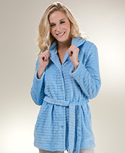 Snap Front Bed Jacket by Miss Elaine - Textured Fleece in Blue