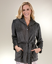 Miss Elaine Snap Front Textured Fleece Bed Jacket in Charcoal