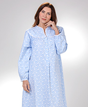 Lanz Nightgowns - V-Neck Long Flannel Cotton Gown in Deerly Beloved
