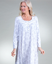 Aria Waffle Knit Lightweight Fleece Nightgown in Silver Blooms