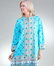 La Cera Plus Zip Front Caftan - 2/3 Sleeve Cotton Lounger in Turquoise Treasure