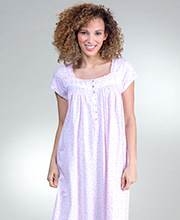 Eileen West Cap Sleeve Cotton Knit Nightgown in Rosy Vine