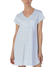 Eileen West Cotton Knit Night Shirt - V-Neck Short Sleeve in Raindrop Vine