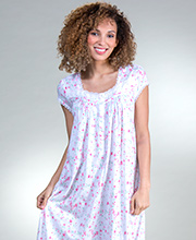 Eileen West Mid-Length Cotton Modal Cap Sleeve Nightgown in Flamingo Blossom
