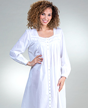 Eileen West Cotton Lawn Button-Front Gown/Robe - White Duchess