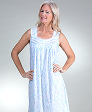 Eileen West Long Sleeveless Cotton Lawn Nightgown in Breezy Harbor
