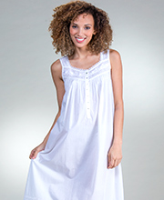 Eileen West Cotton Lawn Sleeveless Long Nightgown in White Duchess