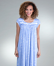Eileen West Modal Knit Cap Sleeve Mid-Length Nightgown in Fragrant Twilight