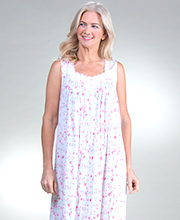 Eileen West Sleeveless Long Cotton Modal Nightgown in Flamingo Blossom