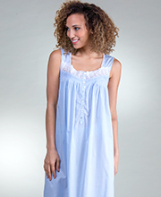 Eileen West Cotton Nightgown - Sleeveless Ballet in Peri Darling