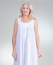 Sleeveless Eileen West Cotton Blend Ballet Nightgown in Piccadilly White