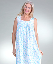 Eileen West Cotton Lawn Sleeveless Long Nightgown in Seacliff Blossom