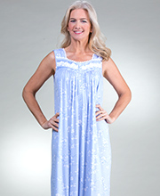 Eileen West Modal Knit Sleeveless Long Nightgown in Fragrant Twilight