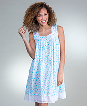 Eileen West Cotton Lawn Short Sleeveless Nightgown in Seacliff Blossom