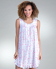 Eileen West Sleeveless Short Cotton Modal Nightgown in Flamingo Blossom