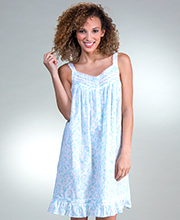 Eileen West Nightgowns - Cotton Lawn Short Nightgown in Breezy Harbor