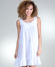Short Eileen West Cotton Blend Sleeveless Nightgown in Piccadilly White