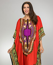 Sante Women's Rayon Kaftan - Fringed Hemline in Red Fury