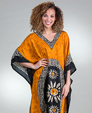 Rayon Kaftan for Women - Sante Fringed Hemline Woven Long Caftan - Golden Floral