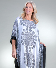 Sante Plus Rayon Woven Kaftan - Fringed Hemline in Raven Medallion