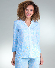 Carole Hochman Pajamas - 3/4 Sleeve Cotton Knit Long PJs in Blue Daisy