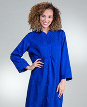 Miss Elaine Zip Front Long Embossed Satin Robe in Royal Blue