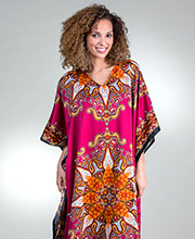 Plus Sante Satin Polyester Caftan - One Size in Magenta Sunburst
