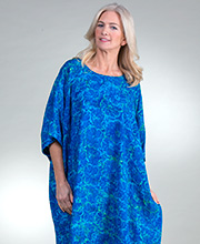 Bali Batiks One Size Long Rayon Kaftans in Blue Hibiscus