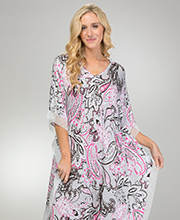 Ellen Tracy Long V-Neck Rayon Blend Caftan in Pink Flurry