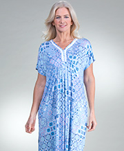 Rayon Ellen Tracy Short Sleeve Caftan Lounger in Princess Blue