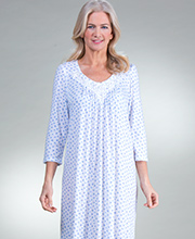 Long Miss Elaine Poly Rayon Knit Nightgown in Blue Rosebuds