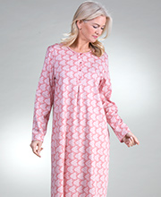 Button Front Calida Cotton Knit Long Sleeve Nightgowns in Cedar Sands
