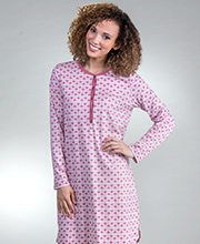 Calida Short Night Shirts - Long Sleeve Cotton Button-Front Nightgown in Deco Rose