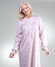 Calida Nightgowns - Cotton Knit Button Front Long Sleeve in Mauve Paisley