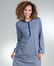Calida Cotton Short Nightgowns - Long Sleeve Button-Front Gown in Night Shadow