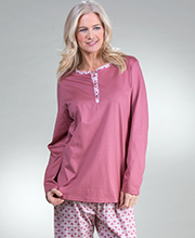 Pajama Set - Calida Long Sleeve 100% Cotton Knit PJs - Deco Rose