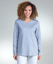 Calida Long Sleeve Cotton Knit Pajama Set in Ice Crystals