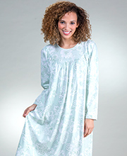 Long Sleeve Calida Cotton Knit Nightgown in Green Lily