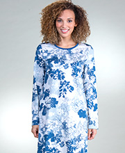 Calida Long Sleeve Cotton Knit Short Nightgown in French Blue
