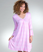 Ellen Tracy Rayon Sleep Shirt - Long Sleeve Short Gown in Pink Memento