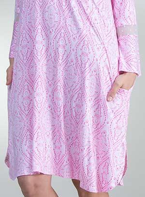 fe6bcc0d775 Ellen Tracy Rayon Sleepshirt - Long Sleeve Short Gown in Pink Memento